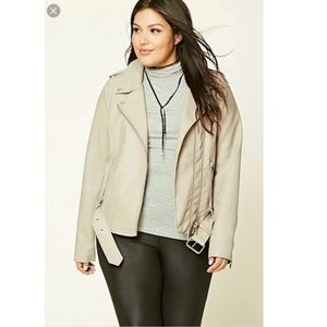 Forever 21 Grey Motorcycle Faux Leather Jacket